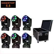 Flight Case 6in1 Packing DMX 4/8CH Mini Led Moving Head Wash Spot 2in1 Zoom Light 1x30W Gobo+6x8W RGBW 4IN1 Wash American DJ