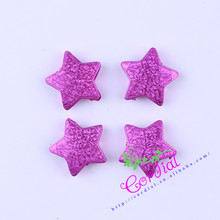 Free Shipping 100pcs/lot 24mm Shiny Stardust Hot Pink Color Chunky Acrylic Star Beads Straight Holes For Ebay Seller CDWB-517879