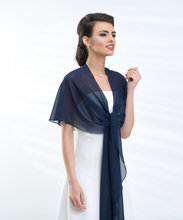 Inform Newly Design Navy Blue White Ivory Chiffon Bridal Wrap Bridal Shawl Stole Wedding Wraps