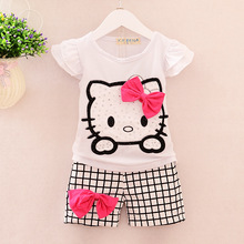 Summer Children costume Girls Hello Kitty Clothing Sets T Shirt Shorts kigurumi Pants Baby Kids Cute Cartoon baby Clothes Set