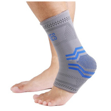 AOLIKES Elastic Compression Ankle Brace Support Arthritis Bandage Sprain Foot Wrap Grey Blue L