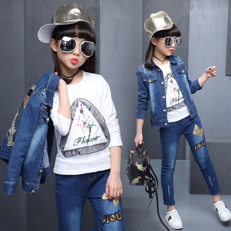 Hot girl denim, three piece set, 4-13 year olds, pure cotton print T-shirt + embroidered golden sequins Butterfly Pearl Set<br>