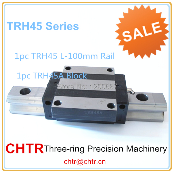 linear bearings and shafts  1pc TRH45 Length 100mm Linear Guide Rail+1pc TRH45A Linear Flange Block/Carriage<br>