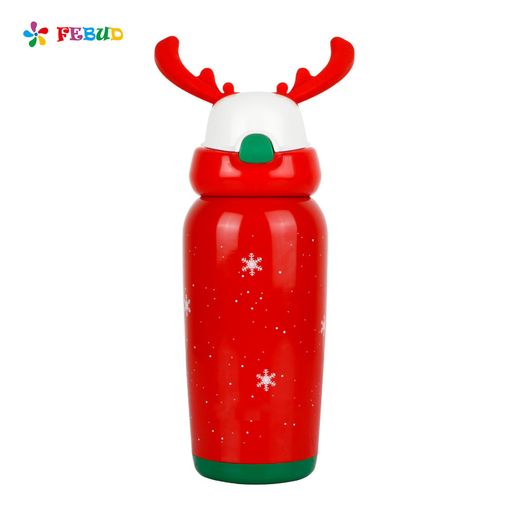 FEBUD 450ml  Insulated Thermo Cup Reindeer Insulated Stainless Steel Travel Mug Insulated Cup Drop-resistant Mug with Straw<br>