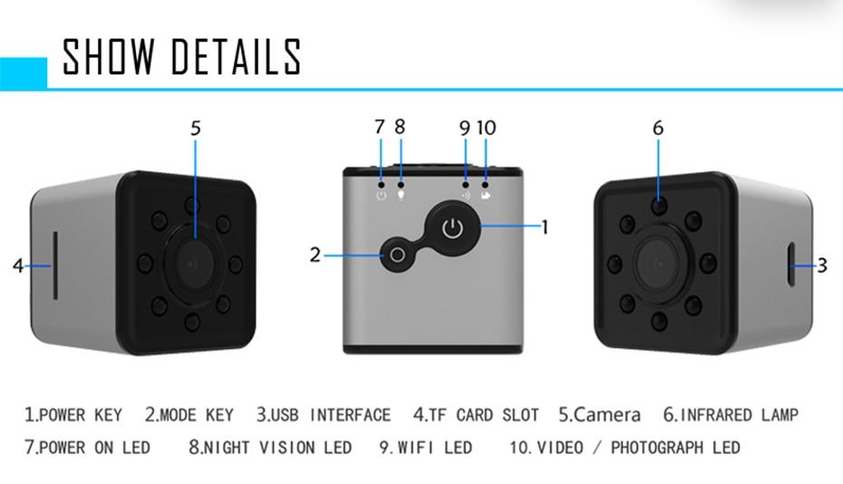 New Mini SQ13 Camera Full HD 1080P Wifi DV DVR Wireless Cam Video Camcorder Recorder Night Vision Small Camera like sq8 sq12 (11)