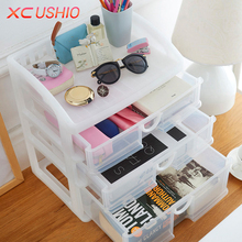 XC USHIO Transparent Plastic Storage Box Drawer Box Organizer Cosmetic Jewelry Drawer Cabinet Kitchen Bathroom Storage Rack(China)