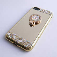 For iPhone 5 5s SE Case Mirror Panel Bling Diamond Finger Ring Glitter Cover Drop Proof Lady Make Up Girl Friend Hot Gift
