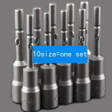 10size=one set Round Shank Power Nut Driver Setter Magnetic Hex Socket Electric screwdriver socket 5.5-14mm
