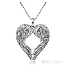 5pcs Women Silver Plated Delicate Angle Wing Heart Love Pendant Chain Necklace(China)