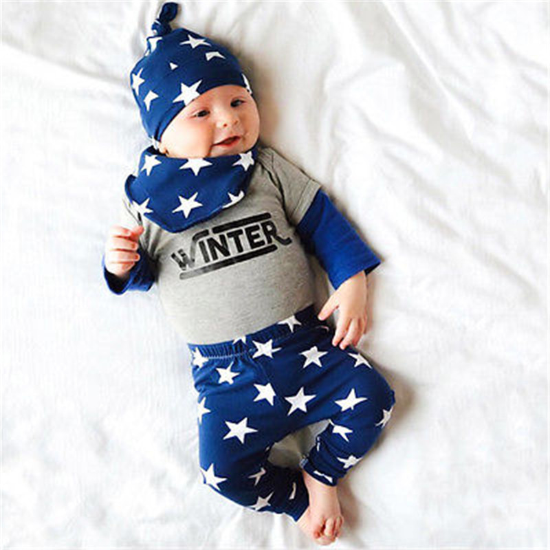 Autmn Baby Clothing Set 4PCS Newborn Baby Kids Girl Boy Letter Tops+Star Long Pants+Hat+Bib Clothes Outfits Set<br><br>Aliexpress