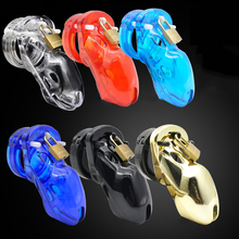 Buy Multiple colors Men Male Plastic chastity Cock Cages Sex Toys penis belt lock Five penis rings Standard