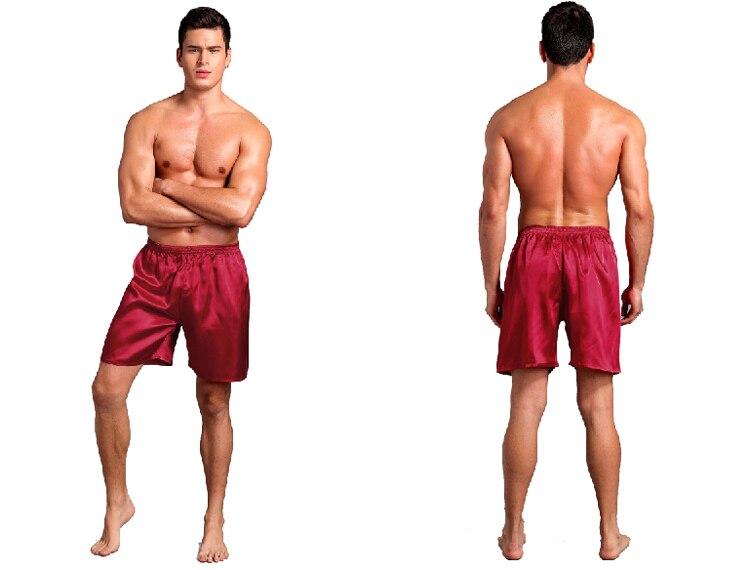 Men Sexy Silk Satin Sleep Bottoms Solid Lounge Pants Soft Pijama Short Summer Sleeping Shorts Home Pajama Pants Sleep Pants 6