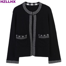 HZLLHX fall Winter news fashion elegant ladies classic stripes women knitted cardigan female short knit outwear top free ship