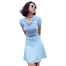 Women Polo Sweater Dresses 2016 Vestidos De Mujer Summer Ladies Blue Knitted Long Tshirt Dress
