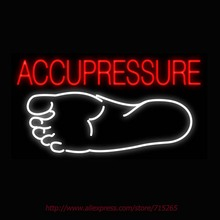 Neon Sign Acupressure Foot Real Glass Tube Handcrafted neon signs Custom Health Store Display ADVERTISE Art Free Design 37x20(China)