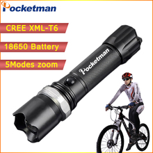 High Power CREE XML-T6 5 Modes Flashlight 3800 Lumens LED Flashlight Waterproof Zoomable Torch lights 18650 or AAA battery zk80(China)