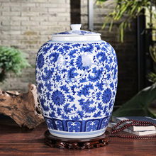 Large 10kgs capacity chinese blue and white porcelain ceramic rice storage jar(China)