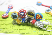 50pcs/lot Superman, Batman Bear Headset Cable Wire Organizer Cord Holder USB Charger Cable Winder For iphone samsung MP3