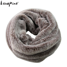 INUPIAT 2017 Fashion Women's Faux Fur Scarf High Quality Fake Fur Neck Warmer Scarves Ring Pattern Winter Scarf for Woman Foular