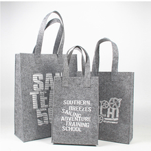 Wholesale 500pcs/lot Hot sale Recycled Felt Fabric shopping bags with handle customized print logo Reusable Luxury Gift tote bag