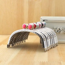 10pcs/lot,12.5cm,Sliver Candy Color Bead Head Metal Purse Frame Handle With Kiss Clasp Clutch DIY Bag Accessory Sewing Craft(China)