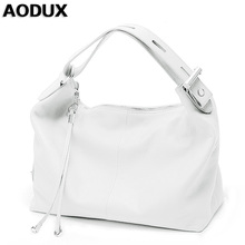 AODUX Female Ladies Soft Genuine Leather Women Shoulder Bags OL Style Tote Bag Designer Lady Handbag Satchel White/Dark Blue/Red(China)