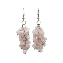 1 pair fashion romantic ethnic dangle earrings pink rose crystal 6cm long handmade jewelry pendientes brincos for women girls
