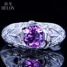 HELON HOT SELL Sterling Silver 925 Round 7mm Genuine Amethyst Pave Natural Diamonds Ring Unique Gorgeous Engagement Wedding Ring(China)