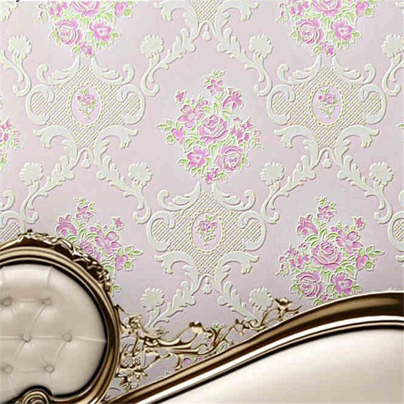 beibehang European style garden flowers large non-woven relief wallpaper romantic pink purple three-dimensional foam wallpaper<br>