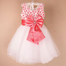 wholesale New arrive girl party Dress with bow kid girl dress Chidren New year dress free shipping 6pcs/lot 558(China)