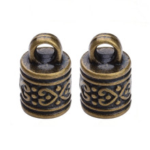 10pcs/lot Antique Bronze/Silver Color Hole Size 7.5mm Copper Leather Cord End Caps Connectors For Bracelet Jewelry Making F329(China)