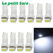 10pcs T5 led 5050 1SMD led t5 bulb with wedge base for dashboards led t5 White/Green/Blue/Red/Yellow Side Lamps DC 12V(China)