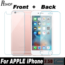 RSHOP 9H 0.3mm Front+Back Tempered Glass For iPhone 5 5S SE 6 6G 6S 7 8 Plus X 10 4 4S Rear Screen Protector Anti Shatter Film
