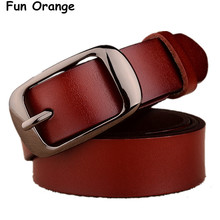 Fun Orange Women's Strap Casual All-match Women Brief Genuine Leather Belt Women Strap Pure Color Belts Top Quality Jeans Belt