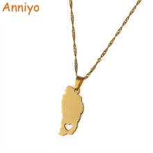 Anniyo The Commonwealth of Dominica Map Charm Pendant Necklaces Gold Color Jewelry Dominicans Gifts #020621(China)
