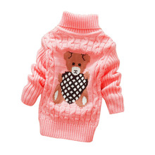 LCJMMO Boys Girls Sweaters Autumn Winter 2017 Cartoon Turtleneck Baby Kids Sweaters Soft Warm Girl Knitted Sweater Size 70-105cm(China)