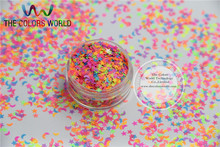 MS3-74 Mix  Neon Colors Glitter  Monn and Stars Shapes paillette for nail and DIY decoration 50g/bag