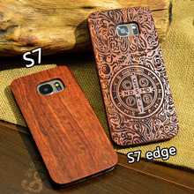 For Samsung s7 Wood Case Slim Natural Bamboo Carving Wooden Plastic Back Cover For Samsung galaxy s7 edge s8 plus s7 s8(China)