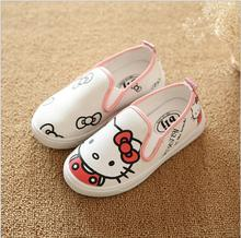 Children canvas shoes 2016 New spring cartoon hello kitty girls shoes fashion kids sneakers girls casual shoe size 21-36