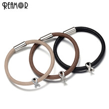 REAMOR Simple Design 316l Stainless Steel 5mm Breast Cancer Beads Leather Bracelets Jewelry Making With Magnetic Clasp 17-21cm(China)