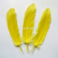 Natural ! 100pcs yellow color 13-20 cm  Goose Feathers,Hat Trimming,Feathers for Millinery,Fascinators&Crafts