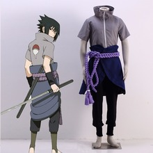 Hot Anime Naruto The Fourth Shinobi War Uchiha Sasuke Cosplay Costume High-collared Ninja Costume Halloween Costume for Men