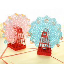 Hot Papercraft Pop-Up 3D 2016 Hot Sales Ferris Wheel Valentine Cards May Love Goes Round And Round for Wedding Party Supply