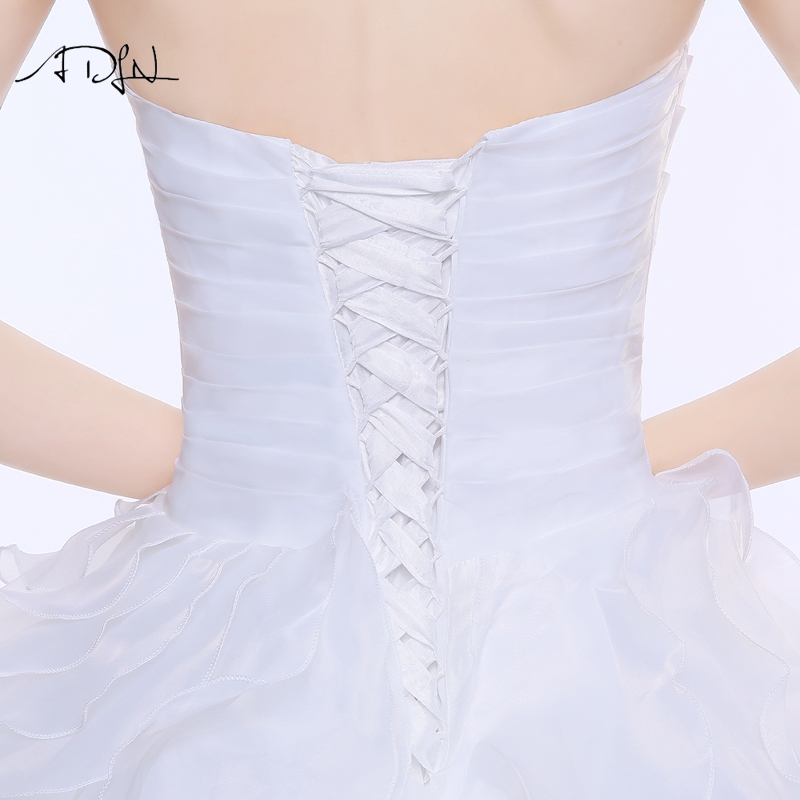 ADLN Stock Corset Wedding Dress 2017 vestidos de noiva A-line Ivory/White Ruffles Plus Size Bridal Gowns 9