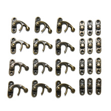 12pcs Hot Selling Mini Antique Metal Lock Catch Curved Buckle Horn Lock Clasp Hook Gift Jewelry Box Padlock