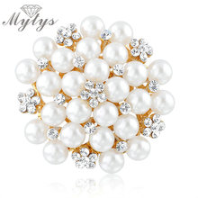 Mytys Brooch and Pin White Pearl and Crystal Brooch Pin Bridal Wedding Accessory X245(China)