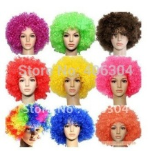 Free shipping by EMS! halloween party wigs,Colorful football curly fans wig,clown bob afro circus wig