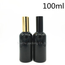 Free Shipping 100pcs 100ml black glass bottle with aluminum sprayer, 100cc Essential Oil Spray perfume bottles()