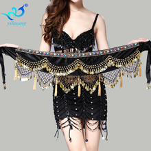 Belly Dance Costume Hip Scarf Indian Dancer Belt Belly Dancing Hipscarf Bellydance Wrap Skirt with Gold Conis Velvet