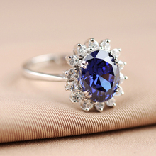 Princess Diana Kate Middleton Engagement Rings For Women Wedding Real 925 Sterling Silver Fine Jewelry With 3CT5A Oval Sapphire(China)
